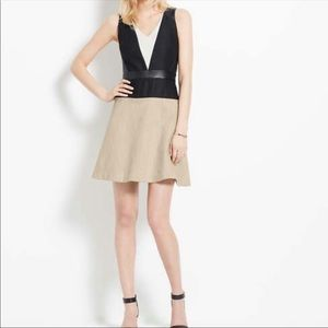 Ann Taylor faux leather inset dress